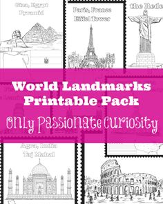 FREE World Landmarks Printables Pack Are you working on Geography? Only Passionate Curiosity has a FREE World Landmarks Printables pack. In this pack, you'll find 8 world landmarks: The Geography For Kids, Geography Lessons, Teaching Geography, World Geography, Teaching History, History Education, Geography Activities, Dinosaur Activities, Study History