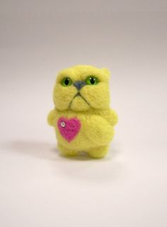 Persian catbroochNeedle Felted brooch miniature yellow by ArteAnRy, Yellow Cat, Felt Brooch, Needle Felting, Brooches, Persian, Miniatures, Teddy Bear, Shapes, Wool