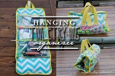 FREE hanging toiletry bag pattern and tutorial - Don't travel without one this…