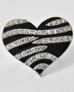 Zebra Bling Heart Shaped Crystal & Rhinestone Size Free Adjustable Ring by Jersey Bling: Jewelry: Amazon.com