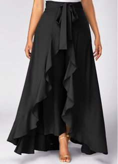 Tie Waist Side Zipper Ruffle Palazzo Pants (in black & gray) Dress Skirt, Dress Up, Skirt Pleated, Chiffon Skirt, Chiffon Fabric, Asymmetrical Skirt, Couture, Look Chic, Fashion Outfits