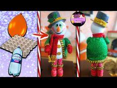 Muñeco de nieve parado con sombrero de copa hecho con materiales reciclados (Moldes Gratis)   Epdlm - YouTube