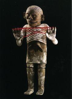 Nina Katchadourian, Mictlantechtli, 2004.    Postcard and thread.   5 3/4 x 4 1/8 inches unframed; 8 1/8 x 6 1/8 inches framed.  $500.
