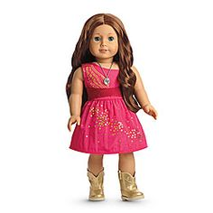Saige's Sparkle Dress Item# F2213 Saige wears this fancy outfit to the Balloon Fiesta® on her tenth birthday! It includes: -A taffeta dress with a gold-foil sparkle design trailing across the front and a criss-cross sash at the waist to accent the full skirt -Golden western boots to match -A cactus-flower necklace on a long chain for extra shine
