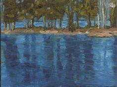 The bright blue spring sky and newly greened trees, reflected in the flooded waters of Christina Creek Blue Springs, Painting Gallery, Sky, Water, Heaven, Gripe Water, Heavens