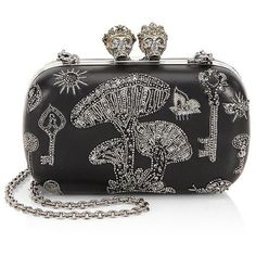 Alexander McQueen Queen and King Mini Clutch ($2,695) ❤ liked on Polyvore featuring bags, handbags, clutches, purse satchel, purse clutches, leather man bags, leather satchel purse and leather purses