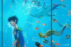 Percy at the aquarium. I love this lol
