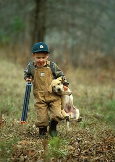 boy and his dog goin hunting