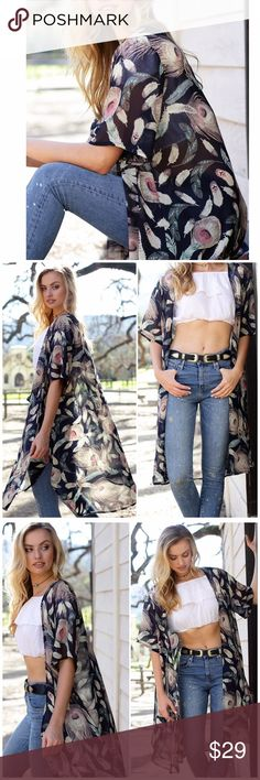 Navy Feather Printed Kimono/ Cover Up Navy Feather Printed Kimono/ Cover Up. Can be worn as part of your outfit or as a swimsuit cover up. 100% polyester. One size fits most Lulupie Accessories Scarves & Wraps