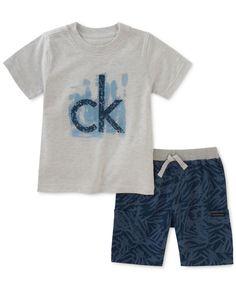 Calvin Klein 2-Pc. Graphic-Print T-Shirt & Shorts Set, Little Boys