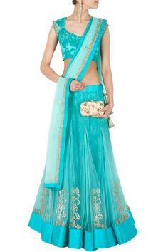 Aquamarine lace and tulle lehenga set BY JADE. shop now at perniaspopupshop.com #perniaspopupshop #clothes #womensfashion #love #indiandesigner #jade #happyshopping #sexy #chic #fabulous #PerniasPopUpShop #ethnic #indian Indian Attire, Indian Ethnic Wear, Indian Dresses, Indian Outfits, Western Outfits, Ethnic Fashion, Indian Fashion, Women's Fashion, Indian Lengha