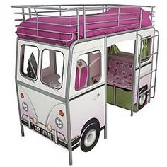 How completely awesome is this bed?!?! It would be too hard to fit three of them in the girls room, so if this were a bunk bed with room for a trundle underneath it would be absolutely perfect... and ours!