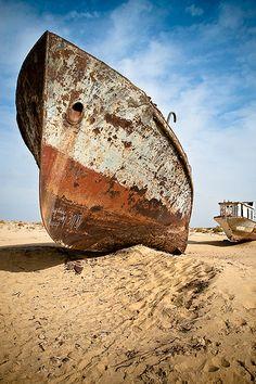 Aral Sea - abandoned rusty ship (shelter)