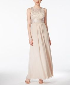 Jessica Howard Soutache Ruched Empire Gown - Dresses - Women - Macy's