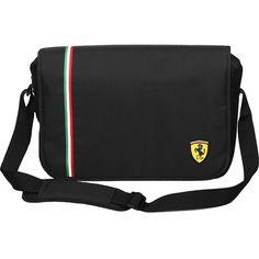 Ferrari Messenger Bag - Black - Messenger Bags ($110) ❤ liked on Polyvore featuring men's fashion, men's bags, men's messenger bags, black, messenger bags and mens laptop messenger bags