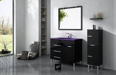 Mueble de baño modelo NIGER de TORVISCO GROUP. Mueble de 100 cms con acabado NEGRO BRILLO y encimera DUBAI morada. Espejo RÍOS, columna auxiliar de 35cms y estante de 35cms.
