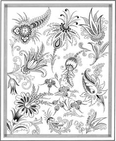 Welcome to Dover Publications Creative Haven Floral Inspirations Coloring Book Davlin Publishing Jacobean Embroidery, Gold Embroidery, Embroidery Patterns, Flower Art Drawing, Motifs Textiles, Folk Art Flowers, Victorian Art, Floral Illustrations, Coloring Book Pages