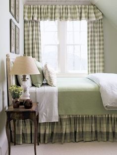 simple small country bedroom with green and white gingham