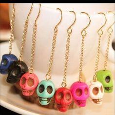 Skull Earrings Brand New with no tags - material is zinc alloy and acrylic - skull is 1.3x0.9cm, colors available are black, light green, pink - be hip with these earrings - purchase directly color you want in this listing, no need to comment anymore..before purchase you will be given the option to select color you like Jewelry Earrings