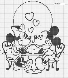 Mickey and Minnie soda shop cross stitch