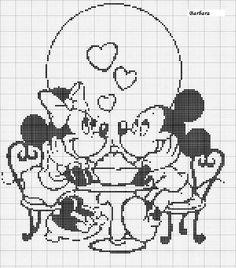 Mickey and Minnie soda shop cross stitch