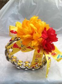 woman: yellow & red party soda tab bracelet