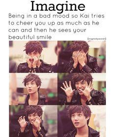 Id smile in secs Exo Imagines, Cute Imagines, Boyfriend Games, Cheer You Up, Exo Kai, Bad Mood, Beautiful Smile, Kpop, Guys