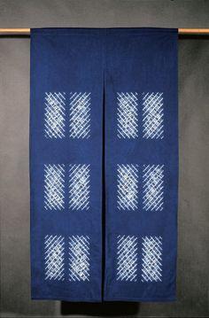 Aboubakar Fofana, Japanese door (Noren). Dyeing technique reserve (sewing), vegetable indigo, cotton, 90x160 cm. Photograph: Michael Kempf