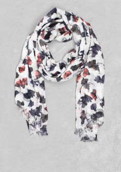 And Other Stories | Palette print viscose scarf | White