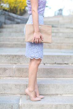 Sky Blue Lace Skirt Top Purple Lace & Camel Clutch & Shoes