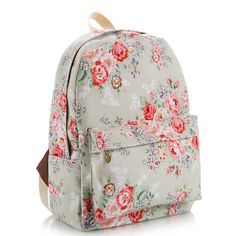 Floral Printed Canvas Backpack
