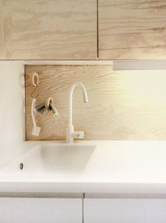 Plywood kitchen + nice idea for storing utilities. Plywood Interior, Plywood Furniture, Kitchen And Bath, Kitchen Decor, Kitchen Sink, Plywood Kitchen, Kitchen Wood, Kitchen Stories, Scandinavian Kitchen