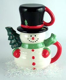 Snowman Teapot Duo stacking teaset (teapot and cup) ... unusual 30 oz snowman teapot with tophat that lifts off as mug, Christmas tree in arms forming spout, c. 2015, handpainted ceramic