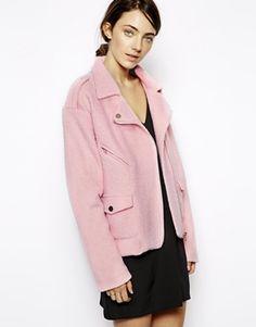 Sister Jane Wool Biker Jacket. Pink spring jacket