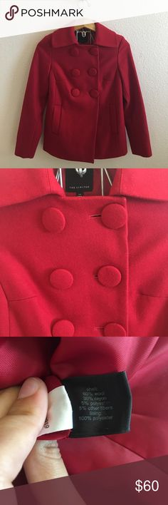 The Limited Red Wool Coat Size XS red coat by The Limited. Wool blend. Worn only once, freshly dry cleaned. No flaws. I ship daily - excluding Sundays and holidays - and I store items in a smoke free, pet free environment. Open to offers; bundles discounted! No trades. The Limited Jackets & Coats Pea Coats