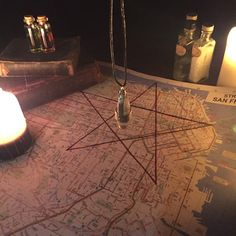 A map for scrying for evil in the city for evil. Marked with the points of the 5 natural elements to show the location of the spiritual Nexus Note: Map will be