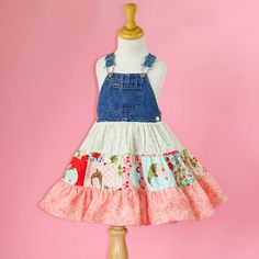 Turn your old overalls into an adorable dress!! This is a great way to upcycle/recycle outgrown denim bib overalls.