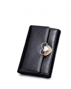This #fancywallet contains PU Material with brand jacquard lining Inner material and zipper opening In this #womenswallets colors are available #black and size of this #stylishwallet is 9.5cm Bag length,14cm Bag height