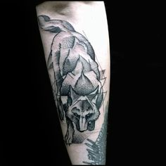 Geometric Wolf Body With Shaded Ink Male Arm Tattoo
