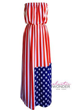 American Flag Stars And Stripes Strapless Maxi Dress - ElasticWonder.com