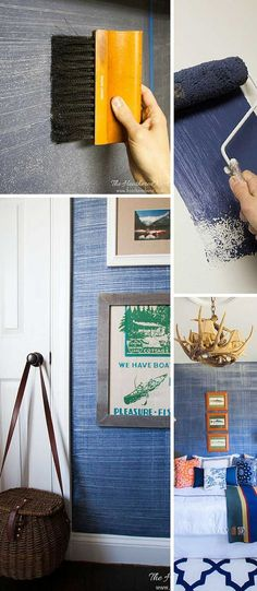 Denim faux finish for walls! GREAT paint idea to add texture and interest for an upscale look on a budget! Looks like grasscloth or real denim jeans!! from http://www.heatherednest.com