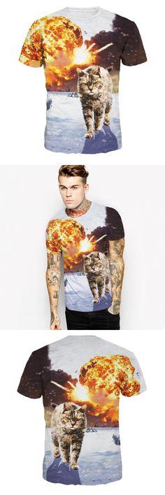 Men T Shirt New Men's Short Sleeve T-shirt 3 D Digital Printing Explosion Cat Leisure Plus Size T Shirt 3d Comfortable