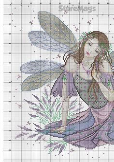 Lavender Fairy_JE.083_3/4 Cross Stitch Skull, Fantasy Cross Stitch, Cross Stitch Fairy, Cross Stitch Angels, Cross Stitch Numbers, Cross Stitch Charts, Cross Stitch Designs, Cross Stitch Patterns, Cross Stitching