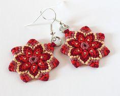 Hippie Mandala Textile Flower Macrame Earrings red yellow