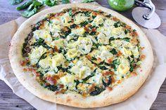 Spinach Artichoke Pesto Pizza Recipe. A fresh and simple pizza!