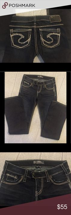✨ NWOT Silver Dark Tuesday Boot Cut Jeans ✨ NWOT Gorgeous Dark Bootcut Jeans by Silver...look  oh so sexy on!  Waist - 27 and Length - 33  You could easily hem them to a shorter length...Most good seamstress places can hem AND keep the original hemline. Silver Jeans Jeans Boot Cut
