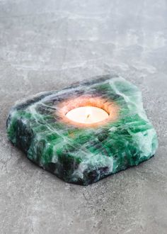 Fluorite Slab Candle Holder by SoulMakes #crystals #fluorite #soulmakes
