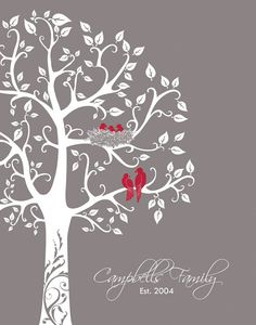 Personalized Family Tree with love birds and babies, Paper Anniversary Gift, Wedding Gift, gift for wife 11x14. $26.00, via Etsy.