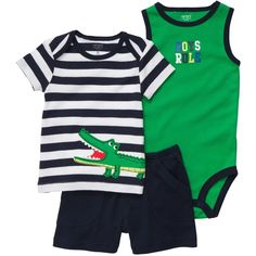 3-Piece Shorts Set baby boy ($111) ❤ liked on Polyvore featuring baby