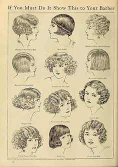 Haha 'if you must rebel and look like a man, do it right' Flapper 1920s hairstyles / bobs